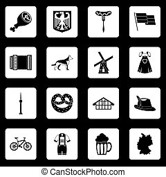 Germany icons set squares vector - Germany icons set in...
