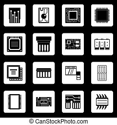 Computer chips icons set squares vector