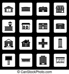 City infrastructure items icons set squares vector - City...