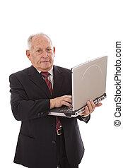 Modern senior businessman - senior businessman working with...