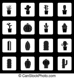 Different cactuses icons set squares vector - Different...