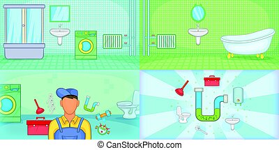 Plumber banner set horizontal, cartoon style - Plumber...