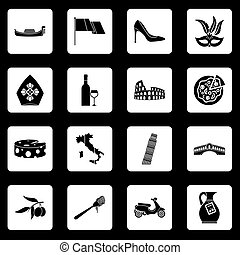 Italia icons set squares vector - Russia icons set in white...