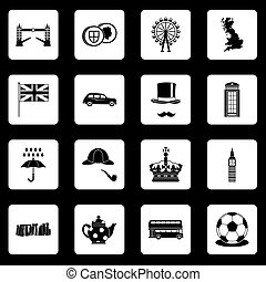 Great Britain icons set squares vector
