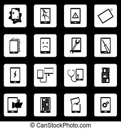 Device repair symbols icons set squares vector - Device...