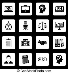 Banking icons set squares vector - Banking icons set in...