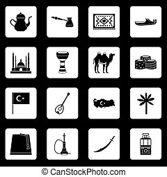 Turkey travel icons set squares vector