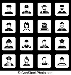 Professions icons set squares vector
