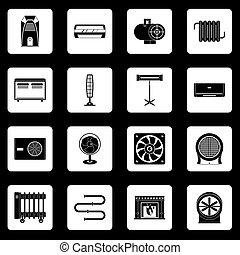 Heating cooling air icons set squares vector - Heating...