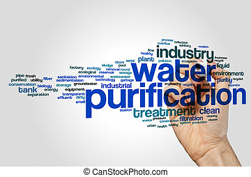 Water purification word cloud concept on grey background