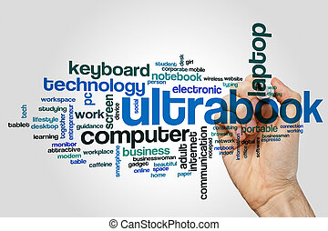 Ultrabook word cloud concept on grey background
