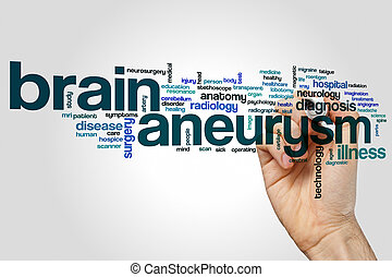 Brain aneurysm word cloud concept on grey background.