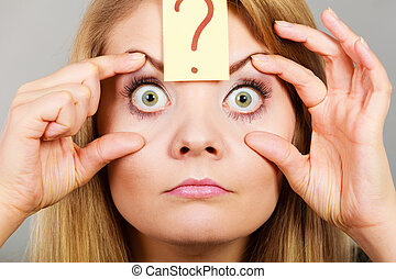 Woman having weirdly wide open eyes - Woman having weirdly...