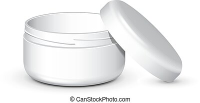 Opened Cream, Gel Or Powder, Light Gray, White, Jar Can Cap Bottle. Blank On White Background Isolated. Mock Up Template Ready For Your Design. Product Packing Vector EPS10