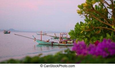 fishing boat at the sea. dawn
