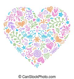 Colorful Valentines heart with birds,flowers and other...