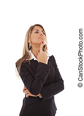businesswoman thinking - businesswoman with her arms crossed...