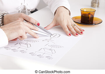 Firewall Security - Detail of businesspeople hands working...