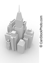 Downtown Cityscape - View of a model of a downtown cityscape...