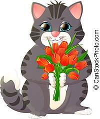 Kitten with a bouquet of flowers