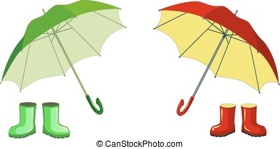 Red   green  rubber boots, umbrella