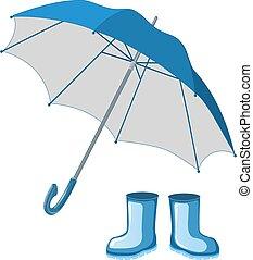 Blue rubber boots, umbrella