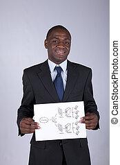 Firewall schema solution - african businessman holding a...