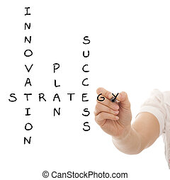 Hand solving a strategy plan to be successful in her...