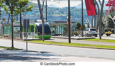 ciudad, Para,  Bilbao, estación, TRANVÍA, españa