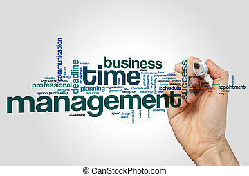 Time management word cloud concept on grey background