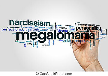 Megalomania word cloud concept on grey background