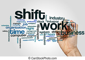 Shift work word cloud concept on grey background
