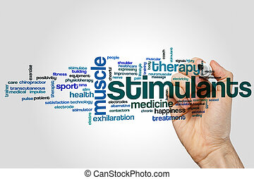 Stimulants word cloud concept on grey background