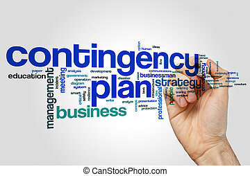 Contingency plan word cloud concept on grey background.