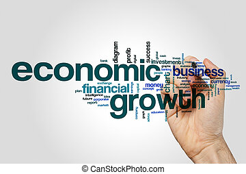 Economic growth word cloud concept on grey background.