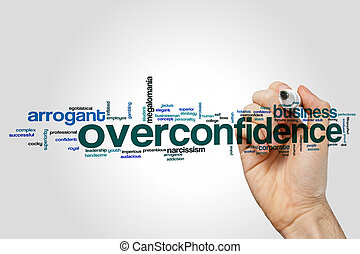 Overconfidence word cloud concept on grey background