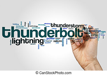 Thunderbolt word cloud concept on grey background