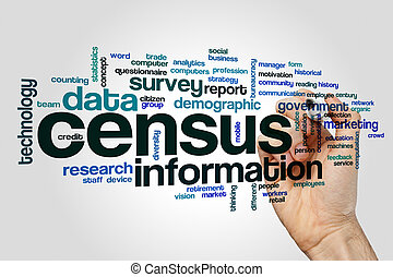 Census word cloud concept on grey background