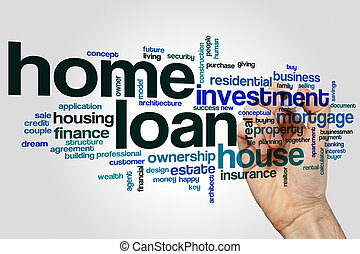 Home loan word cloud concept on grey background