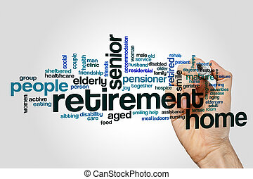 Retirement home word cloud concept on grey background