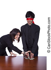 Dishonesty partner - businesswoman partner sealing from a...