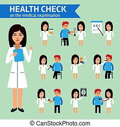 Health check on the medical examination infographic elements, doctor and patient.
