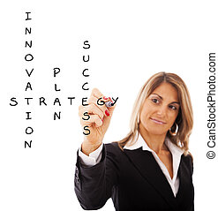 Businesswoman solving a strategy plan to be successful in...