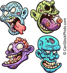 Zombie heads - Cartoon zombie heads. Vector clip art...