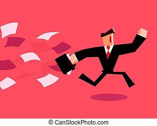 Businessman running away from paper. Vector illustration
