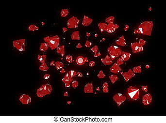 Red Diamonds Isolated on Black Background - Beautiful...