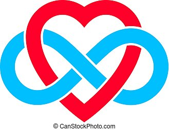 Infinite Love concept, vector symbol created with infinity...
