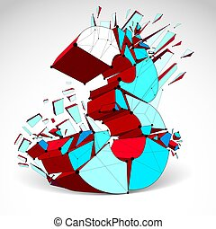 Abstract vector low poly wrecked colorful number 3 with black lines and dots connected. 3d origami futuristic font with lines mesh.