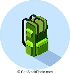 Vector isometric illustration of camping backpack
