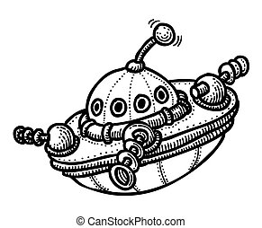 Cartoon image of flying saucer